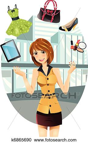 Clipart of Shopping woman k6865690 - Search Clip Art, Illustration ...