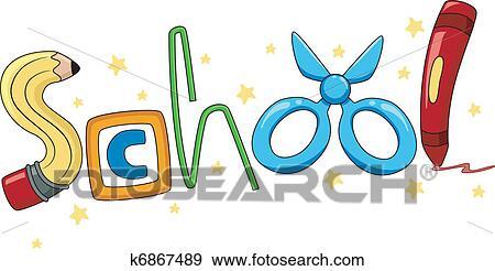 Clip Art of School Materials k6867489 - Search Clipart ...