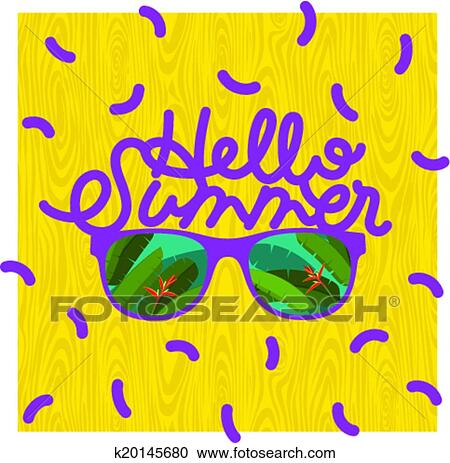 Clipart   Hello Summer, Sunglasses With Palm Reflection. Fotosearch    Search Clip Art,