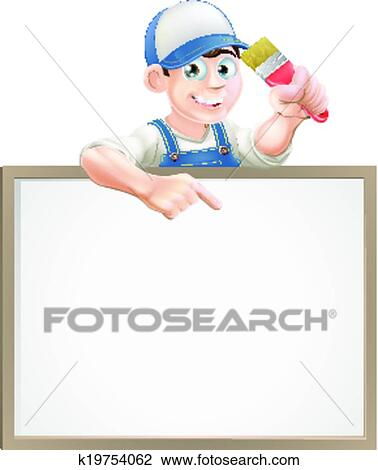 Clipart Of Painter Decorator Sign K19754062 Search Clip