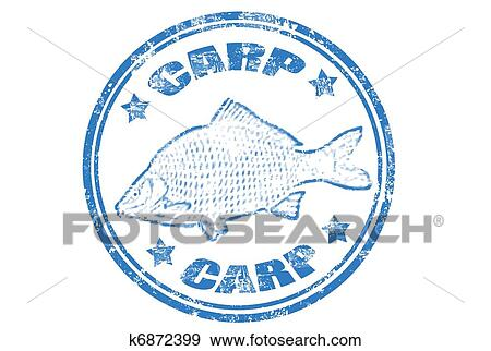 Clip art of carp fish stamp k6872399 search clipart for Fish symboled stamp