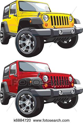 Types Of Jeeps >> Clipart of off-road jeep k6884720 - Search Clip Art ...