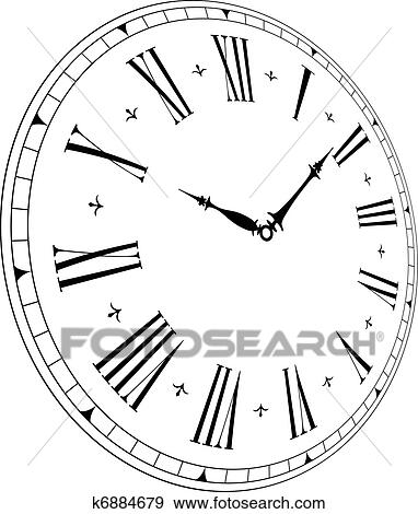 Clip Art Of Old Clock Face K6884679 Search Clipart