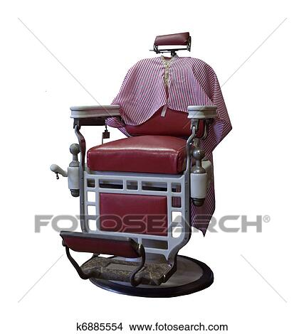 Vintage Barber Chair On A White Background