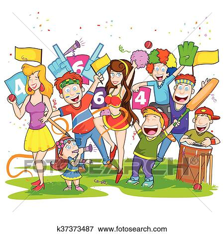 clip art of group of people cheering for cricket match k37373487 rh fotosearch com cheer clipart cheer clip art border