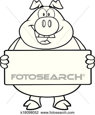 Clipart esquiss cochon tenue a banni re k18098052 - Dessin cochon debout ...
