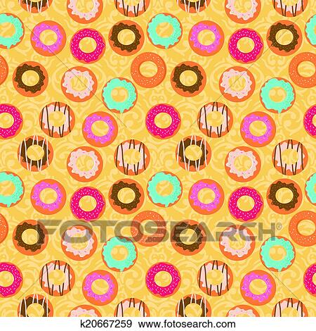 Pink donut with yellow background by bablondie25