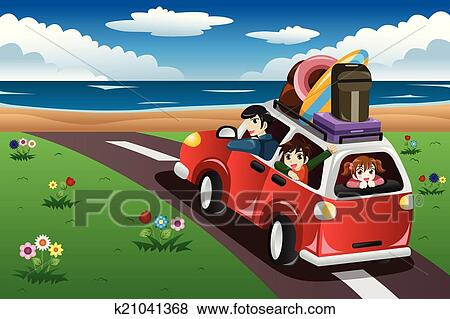 Clip Art Of Family Going On A Beach Vacation K21041368