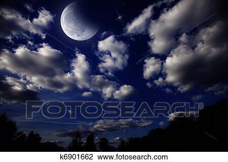 风景, 带, 月亮