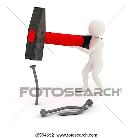 clipart 3d homme frapper et courber clou k6904552 recherchez des cliparts des. Black Bedroom Furniture Sets. Home Design Ideas