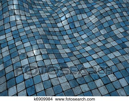 Drawings Of 3d Render Blue Wobble Mosaic Tile Floor Wall
