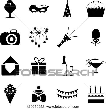 Clipart Of Birthday Party Celebrate Isolated Silhouette Icons And