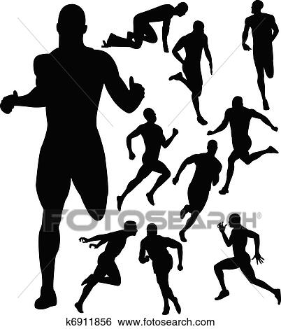 Clip Art of People running silhouettes k6911856 - Search Clipart ...