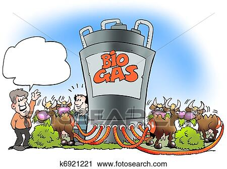 Clipart of Cows convert biogas to fuel k6921221 - Search Clip Art ...