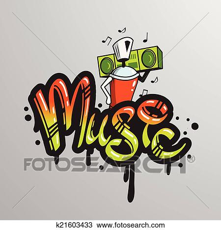 graffiti spray can character element with player music notes word drippy font text sample grunge vector illustration - Dessin Graffiti