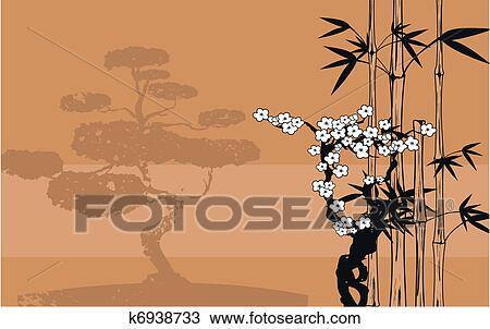手绘图 - 日本, 竹子,