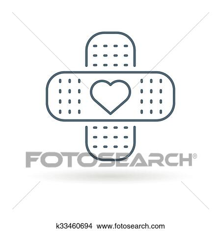 Clipart Of Bandaid Heart Icon White Background K33460694 Search