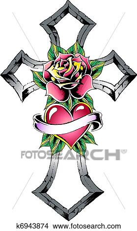 Drawing Gothic Cross Tattoo Fotosearch Search Clip Art