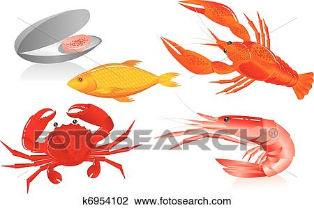 Clipart of Seafood: oyster, shrimp, crawfish, crab and fish ...