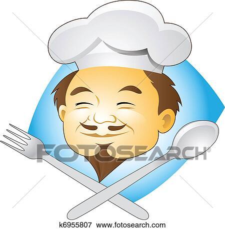剪贴画 - 微笑, 厨师, 带, 刀叉餐具图片