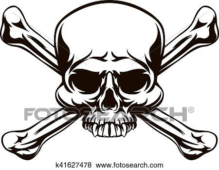 clip art of skull and cross bones sign k41627478 search clipart rh fotosearch com jolly roger flag clipart