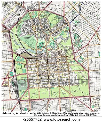 Clipart of Adelaide Australia city map k25557752 Search Clip Art