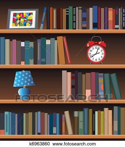 Bücherregal clipart schwarz weiß  Clipart - modernes, bücherregal k6963860 - Suche Clip Art ...