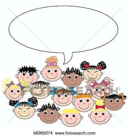 Drawings of mixed ethnic children k6965074 - Search Clip Art ...