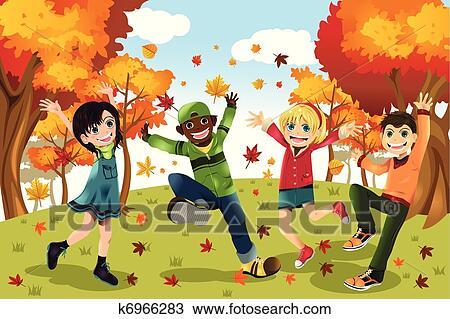 剪贴画 秋季, 下降适应, 孩子