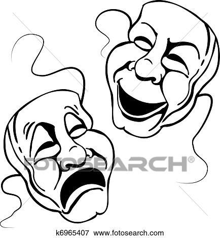 clip art of roman theater mask set k6965407 search clipart rh fotosearch com theatre mask clipart Theatre Faces Clip Art