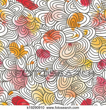 Banco de Fotografías - Seamless, onda, hand-drawn, patrón, ondas ...