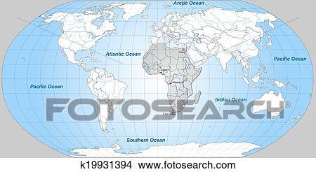 手绘图 - 地图, 在中, 世界, 同时,, 非洲