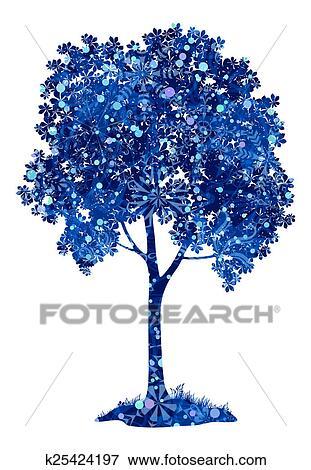 stock illustration kastanie blau baum mit weihnachten schneeflocken k25424197 suche. Black Bedroom Furniture Sets. Home Design Ideas