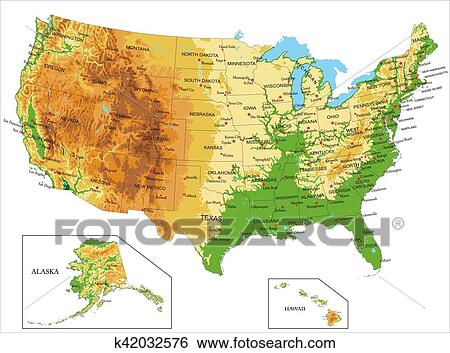 Clip art of united states of america physical map k42032576 search highly detailed physical map of united states of americain vector formatwith all the relief formsstates and big cities gumiabroncs Choice Image