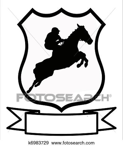 clip art of horse racing or show jumping sport shield k6983729 rh fotosearch com jumping clipart images clipart jumping jacks