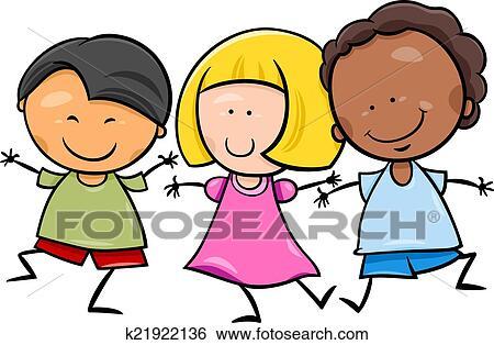 Clip Art - multicultural, niños, caricatura, ilustración k21922136 ...