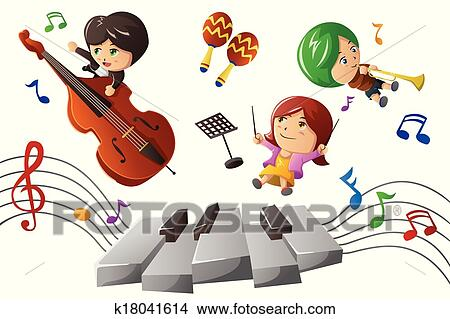clipart of kids enjoying playing music k18041614 search clip art rh fotosearch com Art and Music Clip Art Music Therapy Clip Art