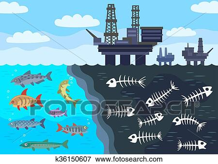 Clip Art of Sea water pollution by oil. k36150607 - Search ...