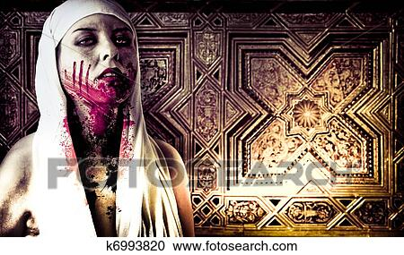 Stock photography of a gory bloody vampire with blood for Blood in blood out mural