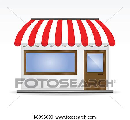 clip art of storefront awning in red k6996699 search clipart rh fotosearch com Glass Storefront Cartoon Storefront
