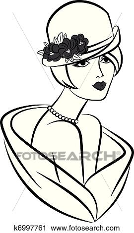 clipart of vintage fashion girl in hat k6997761 search clip art rh fotosearch com Vintage Clip Art vintage retro clipart woman