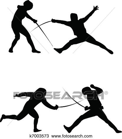 clipart of fencing silhouette vector k7003573 search clip art rh fotosearch com fencing sword clipart fence clipart with horse black and white