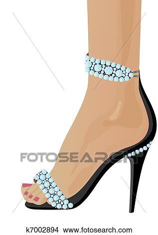 手绘图 - 鞋子, 带, 钻石