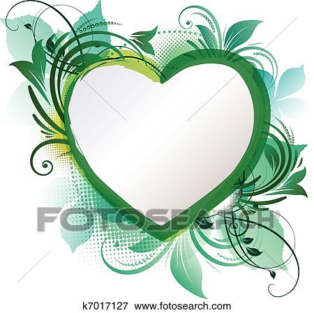 Clip art of green heart floral background k7017127 search clipart clip art green heart floral background fotosearch search clipart illustration posters voltagebd Images