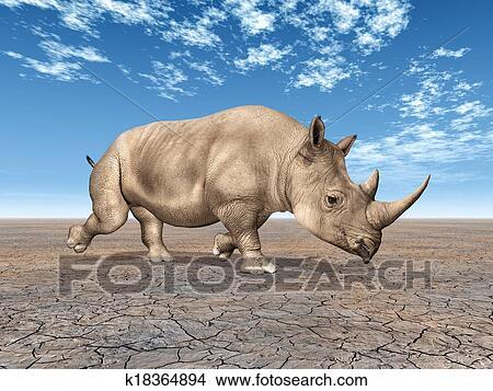手绘图 - 犀牛