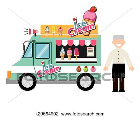 clipart of food truck ice cream k29654902 search clip art rh fotosearch com  clipart ice cream truck images