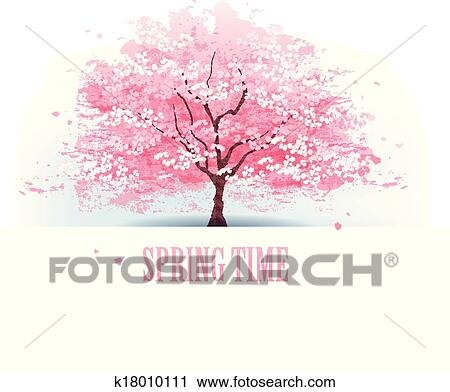 Clipart of Beautiful cherry blossom tree k18010111 - Search Clip ...