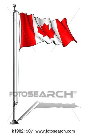 Clip Art of Flag Pole Canada k19821507 - Search Clipart ...
