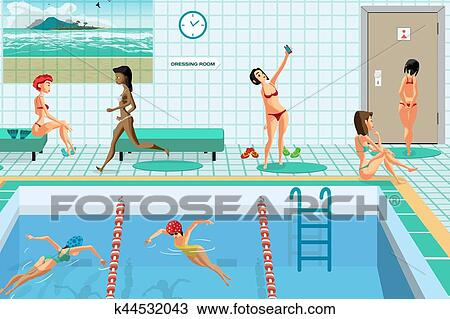 Clipart of public swimming pool inside with blue water for Swimming pool drawing