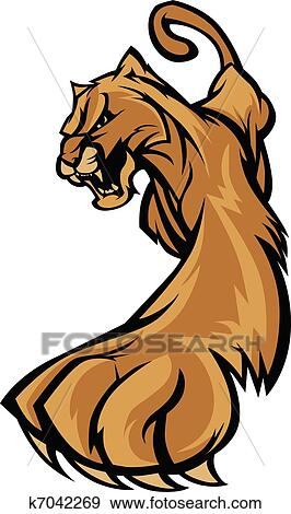 Clip Art of Cougar Mascot Body Prowling Graphic k7042269 - Search ...
